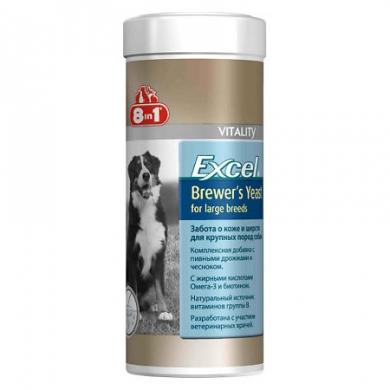 """""""8 in 1 Эксель Пивные дрожжи"""" мультивитаминная добавка для поддержания кожи и шерсти у собак крупных пород 80таб"""