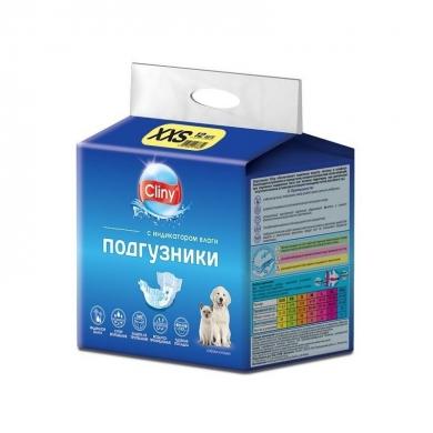 """Экопром """"Cliny"""" подгузники XXS для собак и кошек весом от 1 до 2,5кг 12шт"""