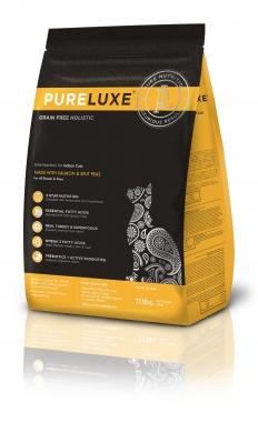 """""""Pureluxe Indoor с лососем и горошком"""" сухой корм для домашних кошек"""