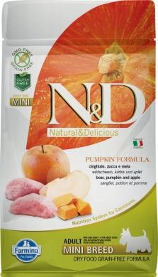 N&D Dog Pumpkin с кабаном,яблоком и тыквой беззерновой сухой корм для собак мелких пород