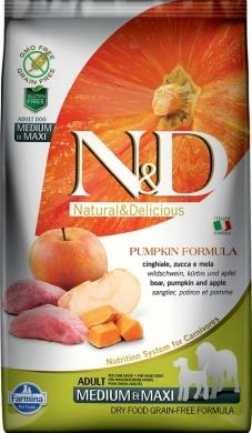 N&D Dog Pumpkin с кабаном,яблоком и тыквой беззерновой сухой корм для собак средних и крупных пород