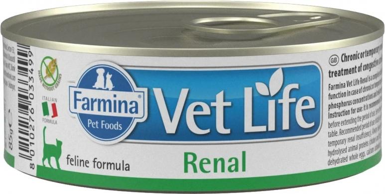 Vet Life Cat Renal с курицей диетический влажный корм для кошек при болезни почек и почечной недостаточности