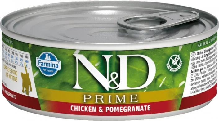 N&D Cat Prime с курицей и гранатом влажный корм для котят