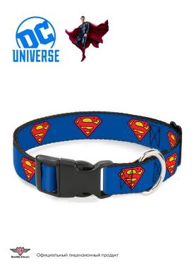 """Buckle-Down ошейник для собак с пластиковой застёжкой """"Супермен"""" цвет синий"""