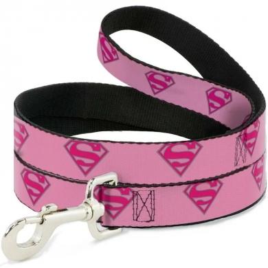 "Buckle-Down поводок для собак ""Супермен"" цвет розовый 120см"