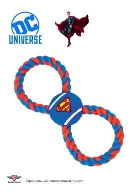 """Buckle-Down игрушка для собак мячик на веревке """"Супермен"""" цвет синий 29см"""