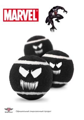 """Buckle-Down игрушка для собак теннисные мячики """"Веном"""" цвет черный 7см (3шт)"""